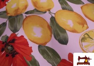 Tissu Imprimé avec Citrons et Fleurs
