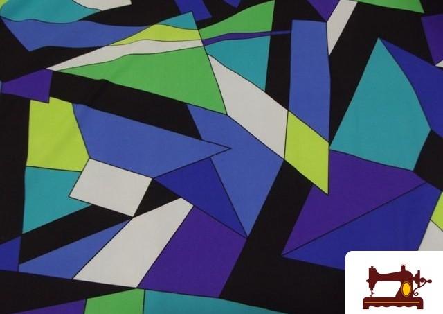 Tissu en Lycra avec Imprimé Géométriques Couleurs Fluorescentes