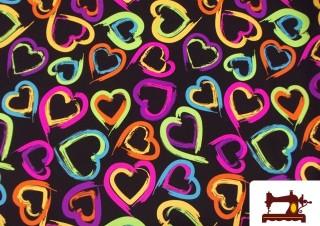 Tissu en Lycra avec Imprimé Coeurs Fluorescents
