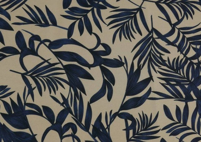 Tissu en Crêpe Floral Feuilles Bleues