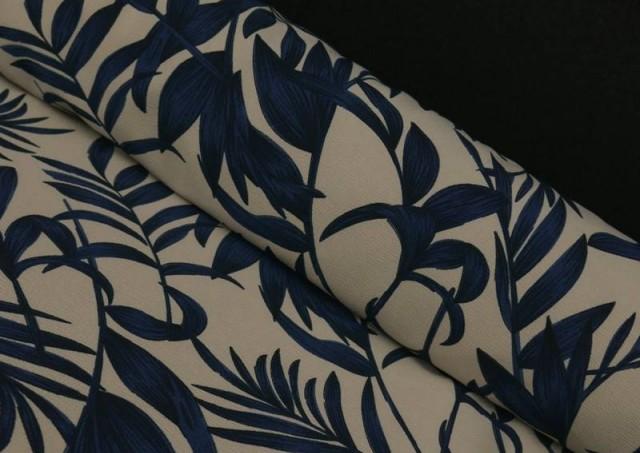Acheter Tissu en Crêpe Floral Feuilles Bleues