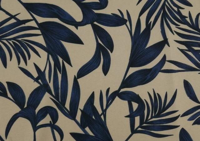 Vente de Tissu en Crêpe Floral Feuilles Bleues