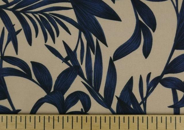 Acheter en ligne Tissu en Crêpe Floral Feuilles Bleues
