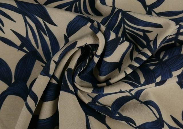 Vente en ligne de Tissu en Crêpe Floral Feuilles Bleues