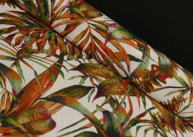 Tissu en Crêpe avec Lycra Tropical couleur Orange