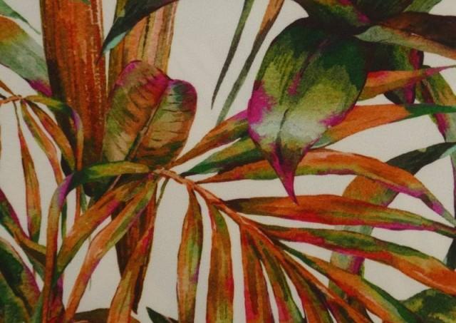 Vente de Tissu en Crêpe avec Lycra Tropical couleur Orange