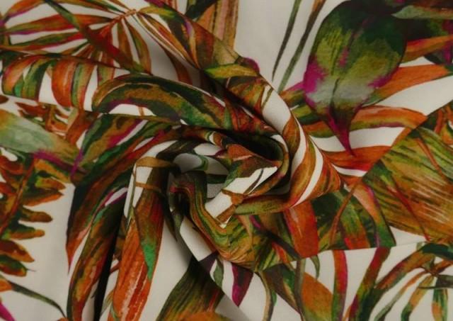 Vente en ligne de Tissu en Crêpe avec Lycra Tropical couleur Orange