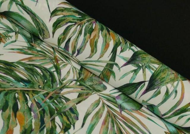 Tissu en Crêpe avec Lycra Tropical couleur Vert