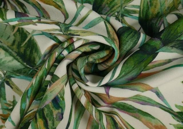 Acheter en ligne Tissu en Crêpe avec Lycra Tropical couleur Vert