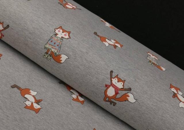 Tissu en Sweat d'Hiver Imprimé avec Renards