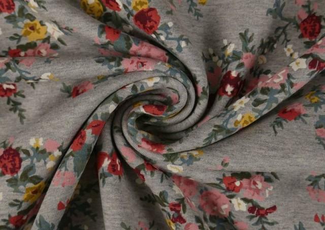 Tissu en Sweat d'Hiver avec Fleurs Romantiques