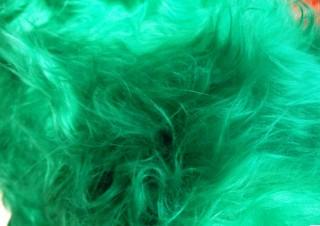 Tissu à Poil Long Vert Brillant