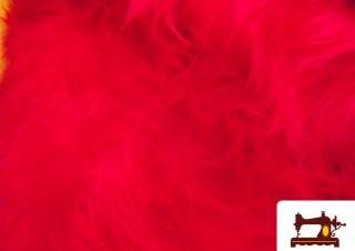 Tissu à Poil Long Rouge Fantaisie