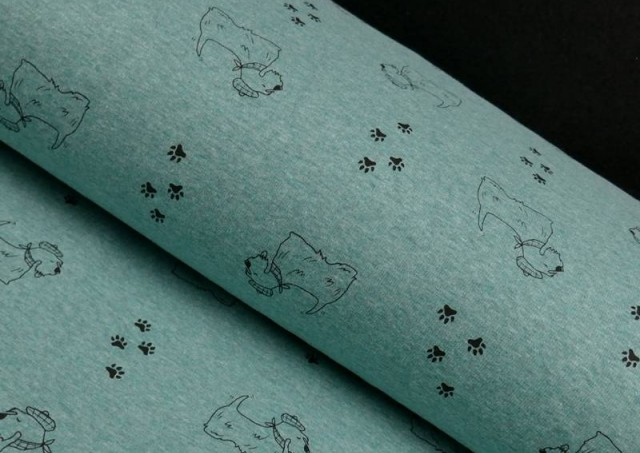 copy of Tela de Punto de Camiseta Huellas en el Bosque couleur Bleu