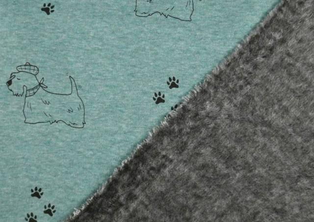 Acheter en ligne copy of Tela de Punto de Camiseta Huellas en el Bosque couleur Bleu