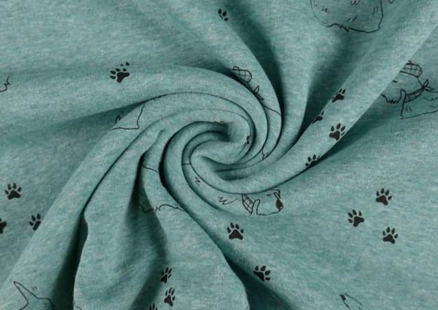 Vente en ligne de copy of Tela de Punto de Camiseta Huellas en el Bosque couleur Bleu