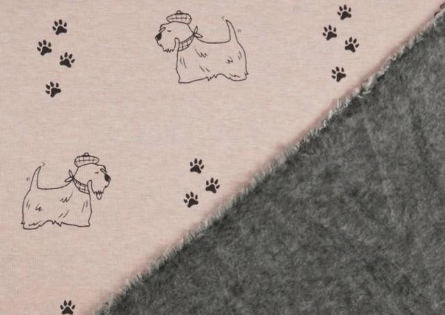 Vente en ligne de copy of Tela de Punto de Camiseta Huellas en el Bosque couleur Rose pâle
