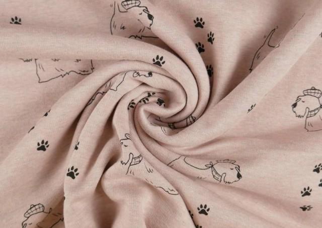copy of Tela de Punto de Camiseta Huellas en el Bosque couleur Rose pâle
