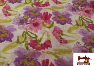 Tissu Blanc Imprimé avec Fleurs et Feuilles