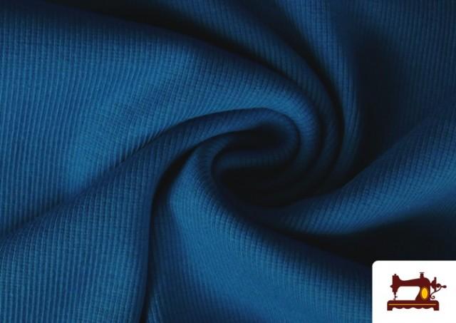 Acheter en ligne Tissu de Poing Canalé couleur Bleu Cobalt
