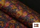 Tissu de Tee-Shirt Interlock avec Imprimé Cachemire Florale couleur Bleu