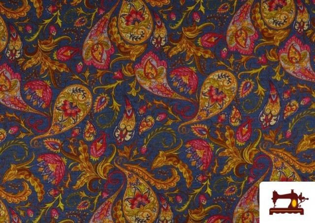 Acheter Tissu de Tee-Shirt Interlock avec Imprimé Cachemire Florale couleur Bleu