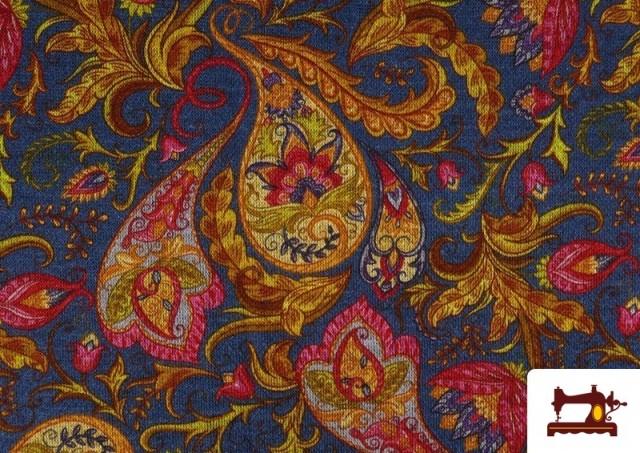 Vente de Tissu de Tee-Shirt Interlock avec Imprimé Cachemire Florale couleur Bleu