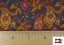 Acheter en ligne Tissu de Tee-Shirt Interlock avec Imprimé Cachemire Florale couleur Bleu