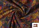 Vente en ligne de Tissu de Tee-Shirt Interlock avec Imprimé Cachemire Florale couleur Bleu