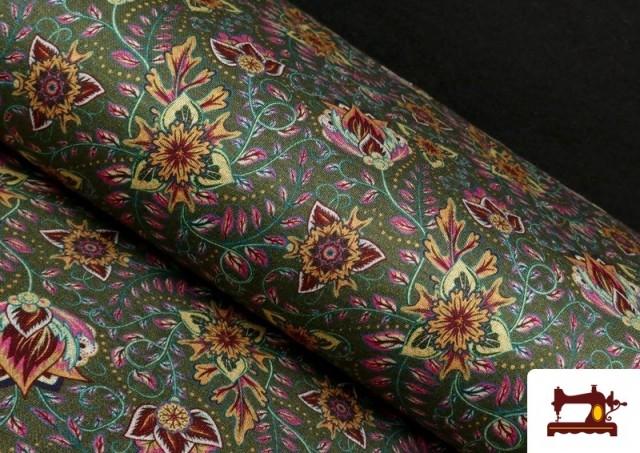 Tissu de Tee-Shirt Interlock avec Imprimé Cachemire Florale couleur Vert