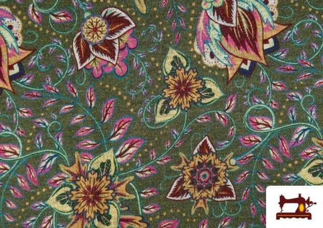 Acheter Tissu de Tee-Shirt Interlock avec Imprimé Cachemire Florale couleur Vert