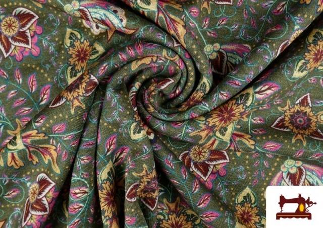 Vente de Tissu de Tee-Shirt Interlock avec Imprimé Cachemire Florale couleur Vert