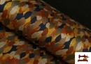Tissu de Tee-Shirt Interlock Imprimé Feuilles d'Automne Dorées