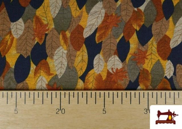Vente de Tissu de Tee-Shirt Interlock Imprimé Feuilles d'Automne Dorées