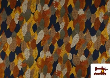 Acheter Tissu de Tee-Shirt Interlock Imprimé Feuilles d'Automne Dorées