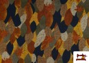 Acheter en ligne Tissu de Tee-Shirt Interlock Imprimé Feuilles d'Automne Dorées