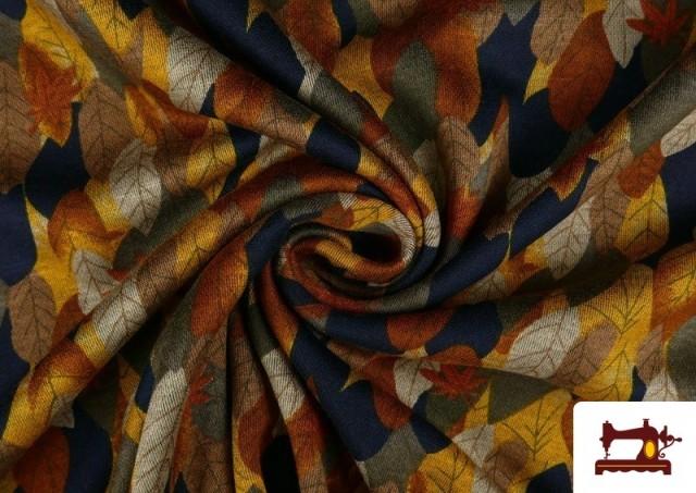 Vente en ligne de Tissu de Tee-Shirt Interlock Imprimé Feuilles d'Automne Dorées