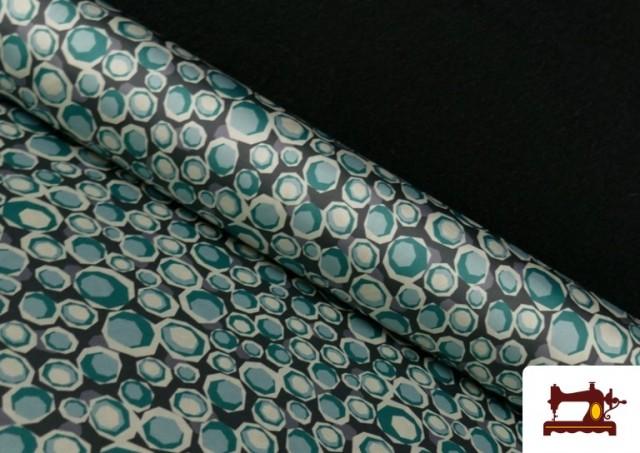 Tissu en Crêpe Satiné Géométrique de Couleurs couleur Vert