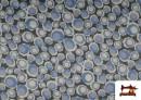 Tissu en Crêpe Satiné Géométrique de Couleurs couleur Bleu