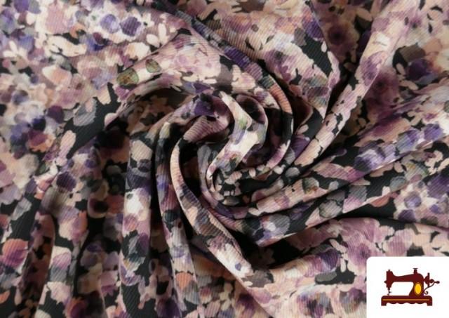 Tissu en Serge Crêpe avec Fleurs du Jardin