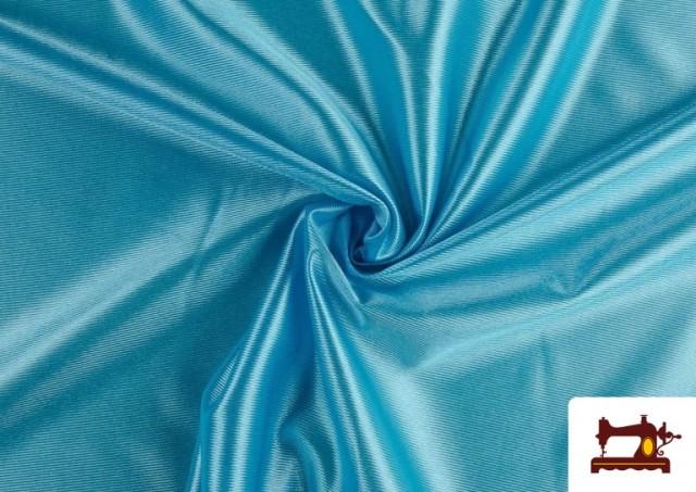 Vente en ligne de Tissu Satiné avec Mousse couleur Bleu turquoise