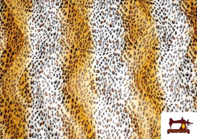 Tissu à Poil Court Imprimé Léopard pour Costumes et Tapisserie couleur Bronzé