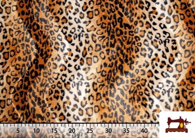 Acheter en ligne Tissu à Poil Court Imprimé Léopard pour Costumes et Tapisserie couleur Brun
