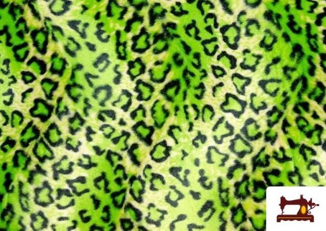 Tissu à Poil Court Imprimé Léopard pour Costumes et Tapisserie couleur Vert pistache
