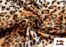 Acheter Tissu à Poil Court Imprimé Léopard pour Costumes et Tapisserie couleur Brun