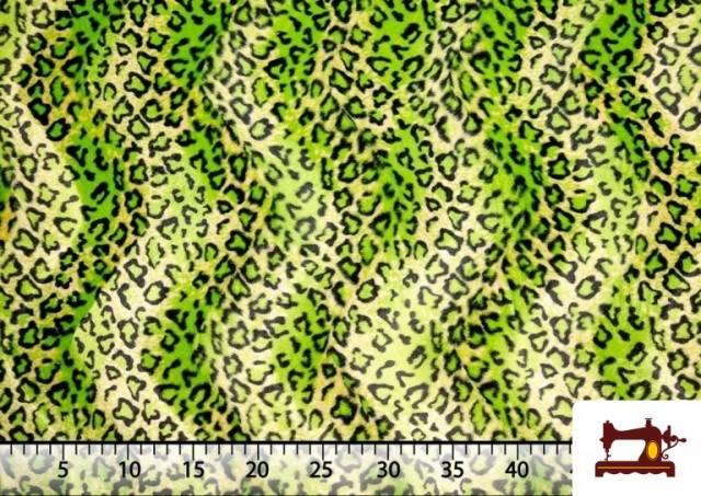 Acheter en ligne Tissu à Poil Court Imprimé Léopard pour Costumes et Tapisserie couleur Vert pistache