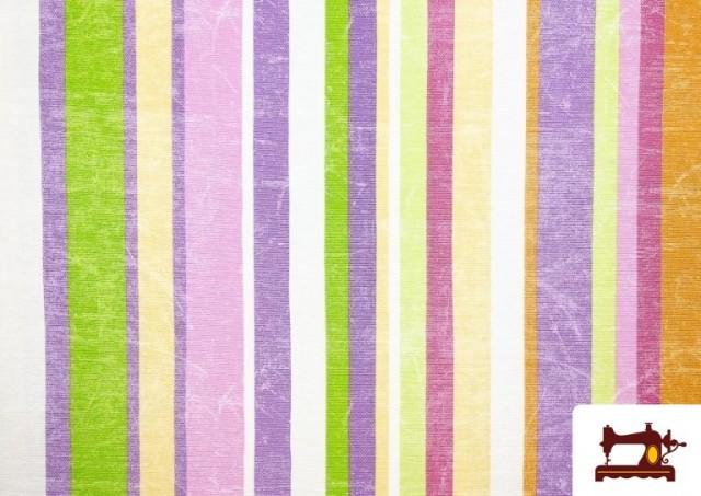 Acheter Tissu en Canvas avec Rayures Larges pour Décoration Multicolore couleur Mauve
