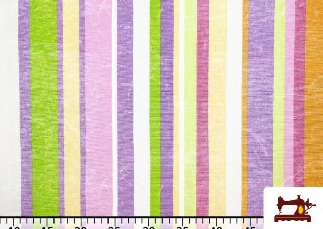 Vente de Tissu en Canvas avec Rayures Larges pour Décoration Multicolore couleur Mauve