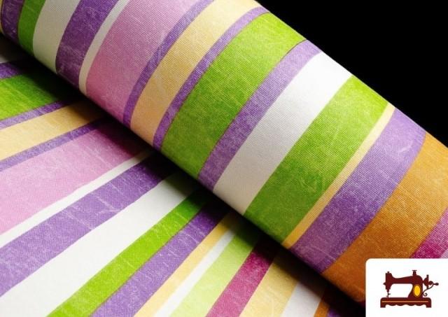 Acheter en ligne Tissu en Canvas avec Rayures Larges pour Décoration Multicolore couleur Mauve
