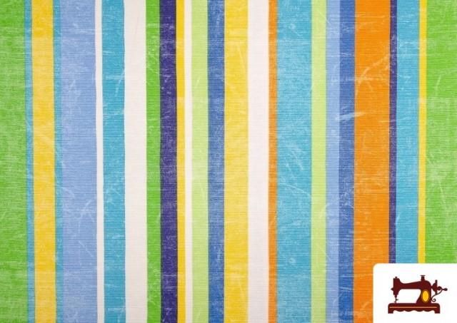 Vente en ligne de Tissu en Canvas avec Rayures Larges pour Décoration Multicolore couleur Bleu